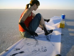 Dancer Michaela Pegum marking architects paper at Lake Tyrrell, Victoria, Australia, April 2007. Photo by Siobhan Murphy